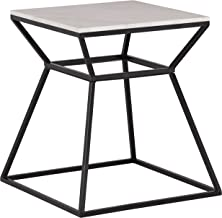Rivet Mid-Century Modern White Marble and Metal Side End Table, 22, Black & Marble