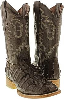 Team West - Men's Crocodile Tail Design Leather Cowboy Boots Square