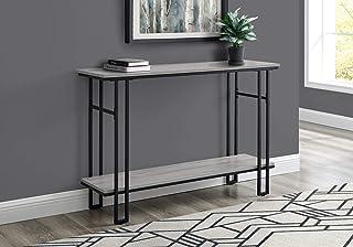 Monarch Specialties Accent Hallway Sofa Black with Bottom Shelf Metal Frame Long Entryway Table, 48 L, Grey
