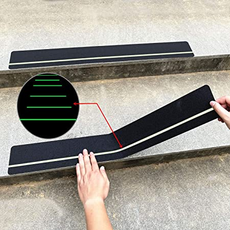 """30"""" X 4""""(10-Pack) Anti Slip Traction Treads with Glow in The Dark Stripe,Best Grip Tape Non Slip, Outdoor Non Skid Tape, High Traction Friction Abrasive Adhesive for Stairs Step Cosimixo"""