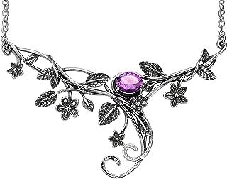 Paz Creations 925 Sterling Silver Floral Swirl Gemstone Statement Necklace