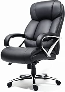 OFFICE FACTOR Big and Tall Office Chair Fully Adjustable, Leather Office Chair, Swivel Office Chair with Castor Wheels, 500 Lbs Rated Leather Executive Chair (Black)