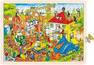 Goki - 2041645 - Puzzle en Bois À Encastrement - Chantier De Construction - 96 Pièces