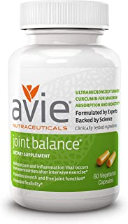 Avie Nutraceuticals Joint Balance Capsules, 60 Count - Water-Soluble Curcumin - Boswellia - Formulated for Maximum Absorption and Bioactivity - No Piperine