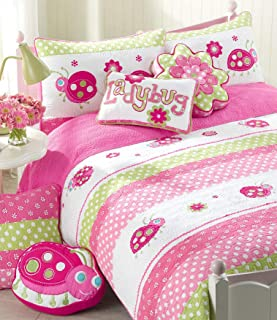 Cozy Line Home Fashions Pink Ladybug Polka Dot 100% Cotton Reversible Quilt Bedding Set, Coverlet, Bedspreads (Twin - 5 Piece: 1 Quilt + 1 Standard Sham + 3 Decorative Pillows)