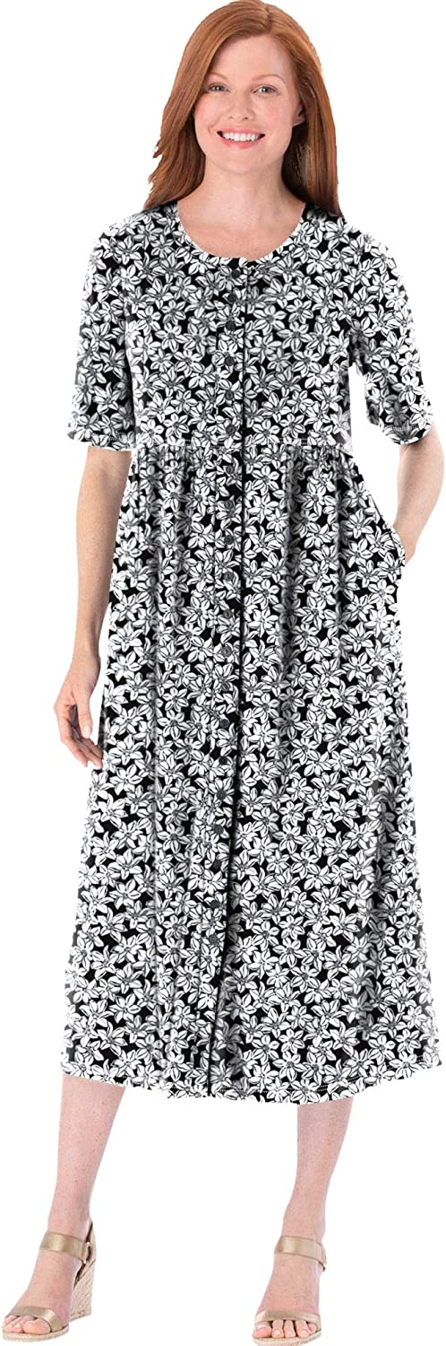 Woman Within Women's Plus Size Button-Front Essential Dress