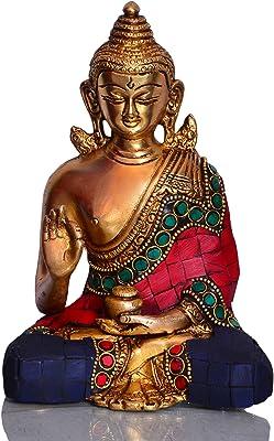 Purpledip God Statue of Lord Buddha in Solid Brass Metal with Turquoise Gem-Stone Work Buddha in Vitarka Mudra Preaching Form 10512