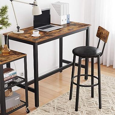 VASAGLE Table Haute de Bar, Table à Manger, Cadre en métal, pour Boissons, Cocktails, Brasserie, Restaurant, Salon, Cuisine,