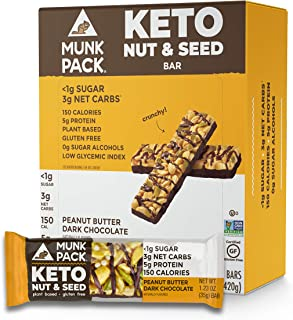 Munk Pack Peanut Butter Dark Chocolate Keto Nut & Seed Bar with <1g Sugar, 3g Net Carbs | No Added Sugar | Plant Based | Gluten Free, Soy Free | 12 Pack