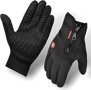 Guantes para Moto Bicicleta y Ciclismo Motocicleta Manejar Conducir Antideslizante y Antiderrame - Apto para Pantalla Táctil - (Negro) (Negro, L)