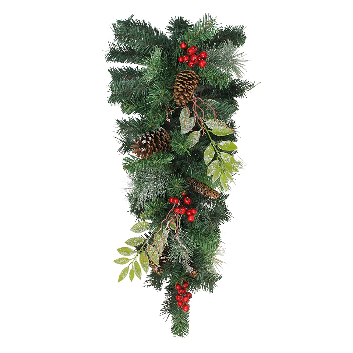 """Northlight 32"""" Pre-Decorated Frosted Pinecone and Berry Artificial Christmas Teardrop Swag - Unlit"""