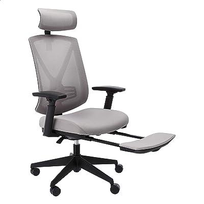 Amazon Basics Ergonomic High-Back Reclining Mesh Office Chair - Fabric Seat with Adjustable Lumbar Support, Gray