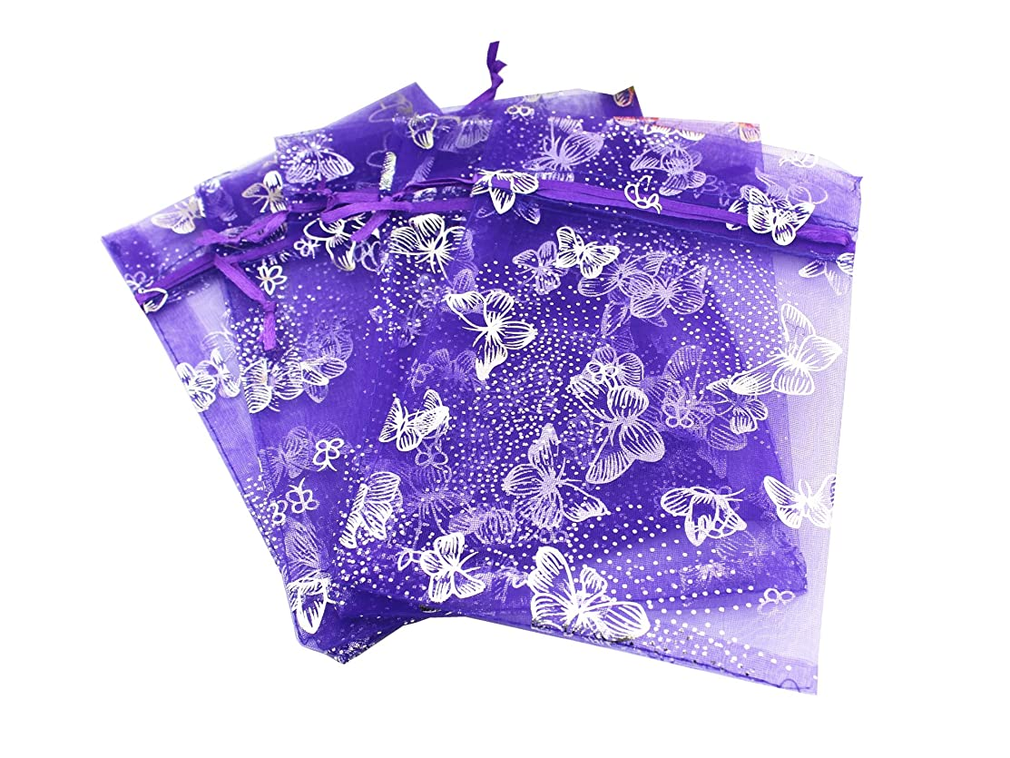 5 x 7 Inch 100 Butterfly Organza Jewelry Gift Pouch Candy Pouch Drawstring Wedding Favor Bags (Purple, 5x7inch)