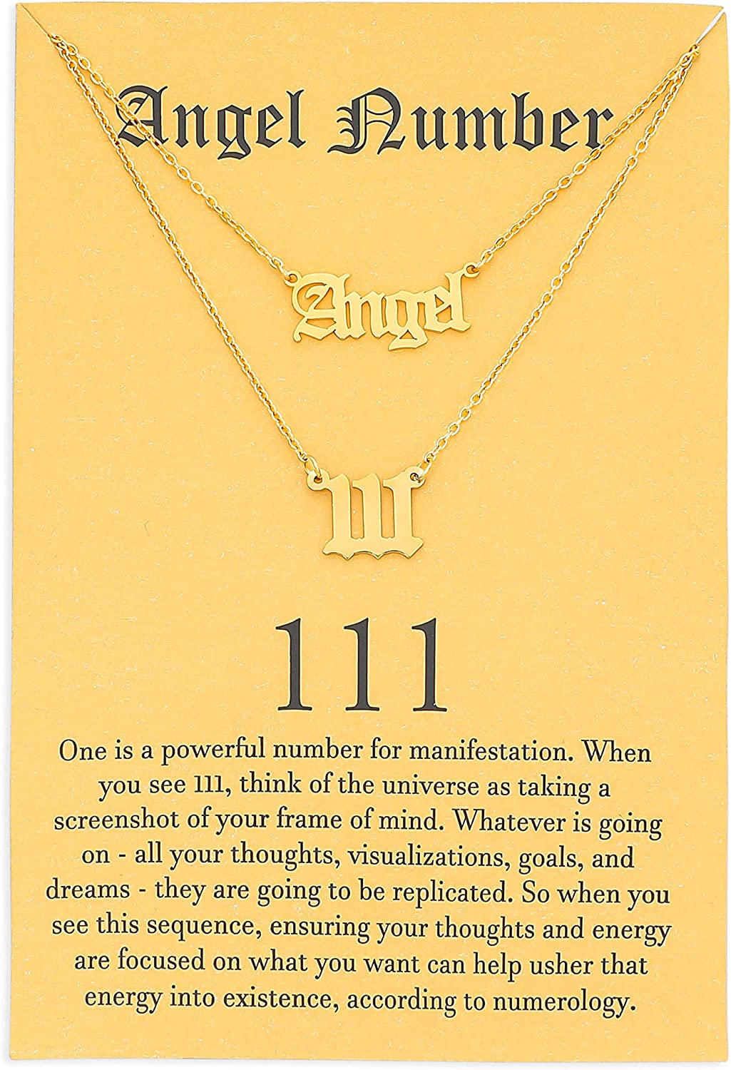 2pcs Old 1 year Portland Mall warranty English Angel Number Necklace Jewelry Numerology for