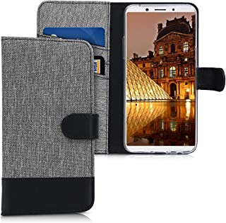 kwmobile Wallet Case for Oppo F5 / F5 Youth - Fabric and PU Leather Flip Cover with Card Slots and Stand - Grey/Black