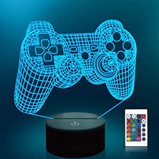 Lampeez Game Control 3D Night Light Touch Remote Optical Illusion Lamps 16 Color Changing Lights Home Decoration Xmas Birt...