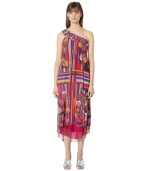 FUZZI One Shoulder Cactus Print Dress
