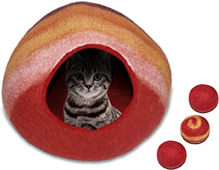 Comfy Pet Supplies Premium Wool Cat Cave Bed | Handmade 100% Merino Wool Cave Beds for Cats and Kittens