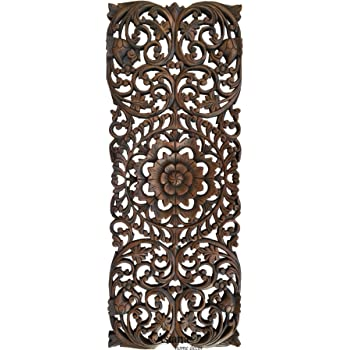 "Tropical Wood Panel Home Decor/Headboard. Wood Carved Floral Wall Art Size 35.5""x13.5"" Extra Thick (Dark Brown)"