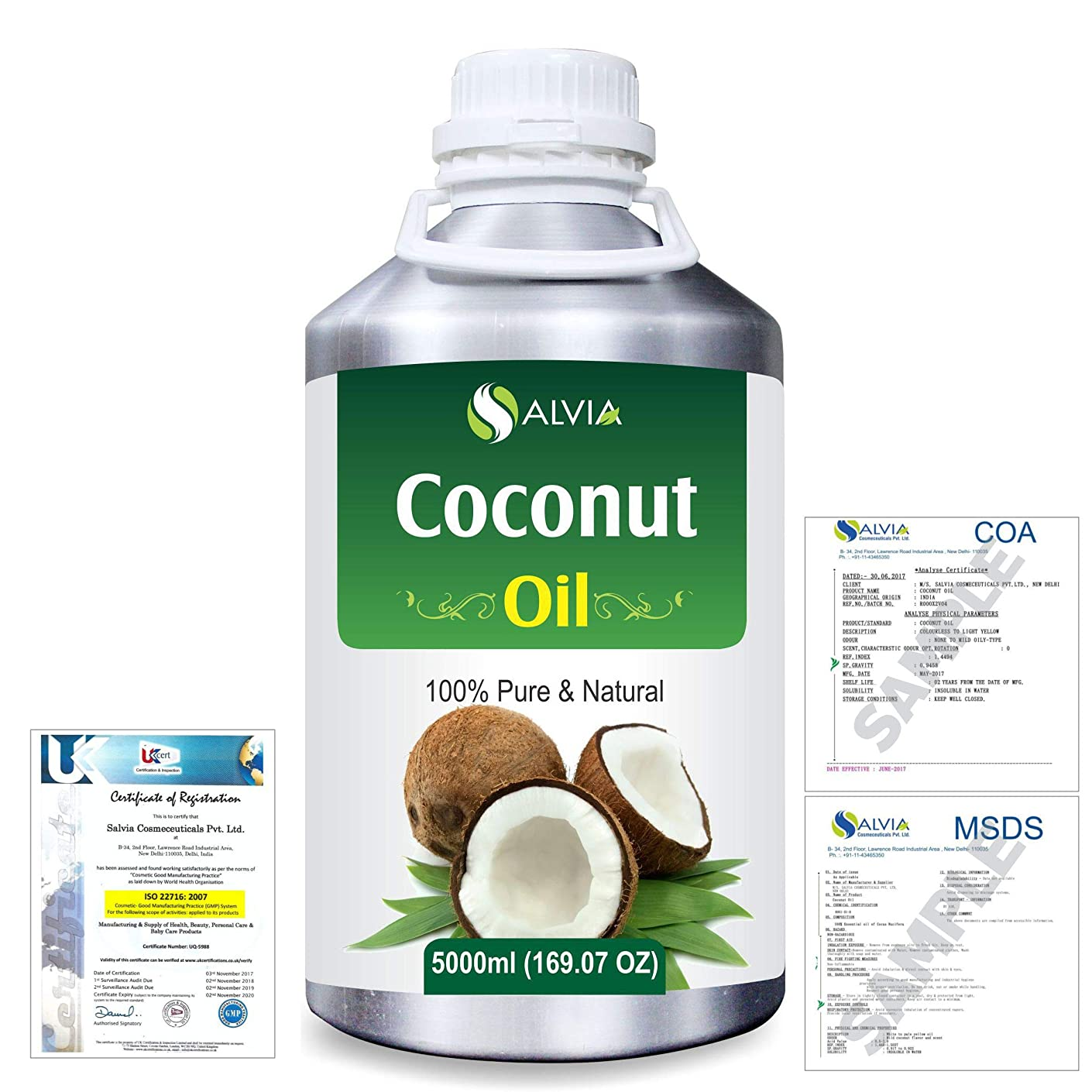 文字安らぎしっとりCoconut (Cocos nucifera) Natural Pure Undiluted Uncut Carrier Oil 5000ml/169 fl.oz.