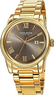 Akribos XXIV AK1056 Stainless Steel Designer Men's Watch – Link Bracelet Strap, Date Window, Curved Edge Vintage Dial, Sporty and Elegant Wristwatch