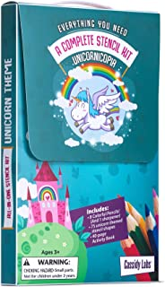 Unicorn Themed Stencil Drawing Kit in Carrying Case - Lots of Stencils for Kids Includes Colored Pencils, Activity Book, Sharpener …