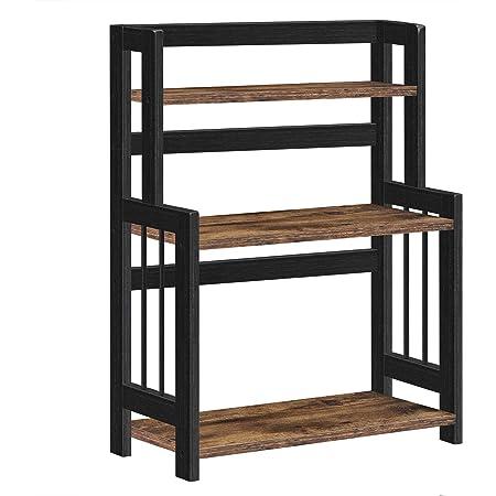 SONGMICS Étagère à épices, Étagère de rangement à 3 niveaux, Organisateur de bureau, cadre en bambou, pour cuisine, salle à manger, bureau, Marron Rustique et Noir OFS047B01