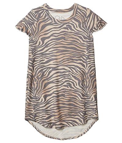 Chaser Kids Cozy Knit Ruffle Shirttail Mini Dress (Little Kids/Big Kids) (Zebra Print) Girl