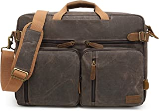 CoolBELL Convertible Backpack Messenger Bag Shoulder Bag Laptop Case Handbag Business Briefcase Multi-Functional Travel Rucksack Fits 17.3 Inch Laptop Brown 17.3 Inches