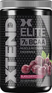 Scivation Xtend Elite Bcaa Powder, Branched Chain Amino Acids, Bcaas, Post Workout Recovery Drink with Beta Alanine & Glutamine, Black Cherry, 20 Servings