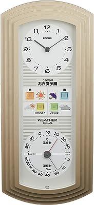 エンペックス気象計 温度湿度計 ウェザーパルEX 天気予報機能付き 壁掛け用 日本製 シャンパンゴールド BW-5267