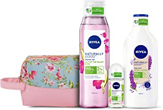 NIVEA Naturally Good Combo, Lavender Body Lotion 200 ml, Lily of the Valley & Oil Shower gel 300 ml, Bio Green Tea Roll on...