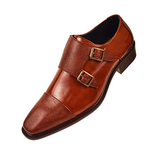 24f2188c07f58 Bolano Mens Smooth Leather Double Monk Strap Dress Shoe with Embossed Strap  and Cap Toe