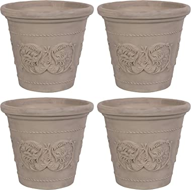 Sunnydaze Arabella Flower Pot Planter - Outdoor/Indoor Extra-Durable Double-Walled Polyresin with Fade-Resistant Beige Finish - Set of 4 - Large 20-Inch Diameter