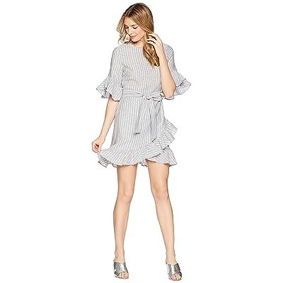 1.STATE Asymmetrical Ruffled Edge Wrap Dress (Ocean Slate) Women