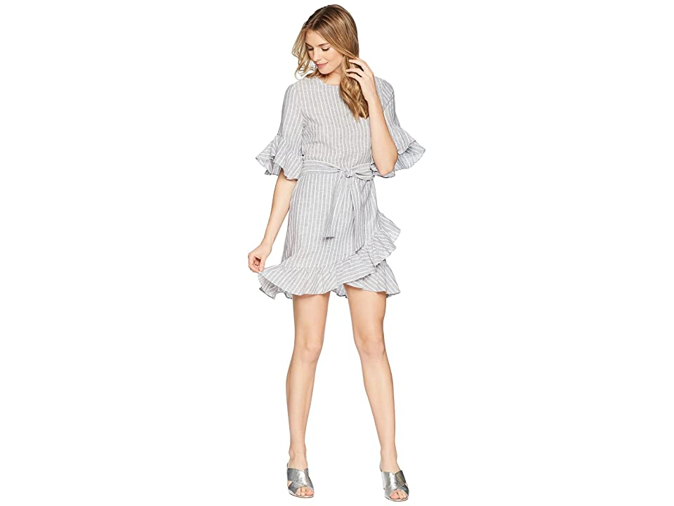 Image of 1.STATE Asymmetrical Ruffled Edge Wrap Dress (Ocean Slate) Women's Dress