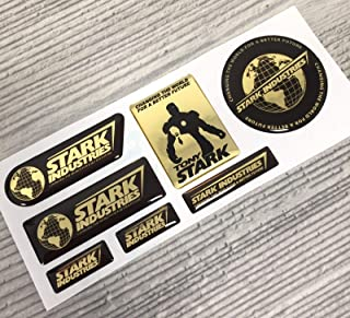 7pcs Gold Iron Man Stark Industries Tony Chrome 3D Domed Emblem Decal Stickers