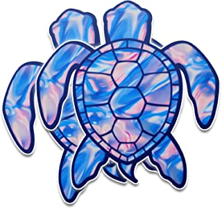 Bigtime Signs 2 - Pack of Sea Turtle Decal Stickers | Blue Tie Dye Swirl | Contour Cut Car Adhesive Decal | Sticker 2 Pack