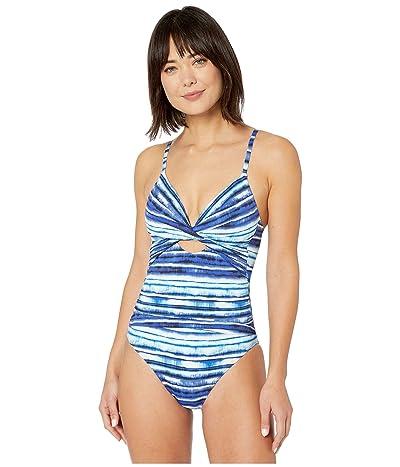 La Blanca Serene Stripes Twist Keyhole One-Piece (Blue) Women