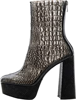 Women Zipper Mid Calf Boot Block High Heel Square Toe Snakeskin Boots Waterproof Booties