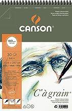 Canson 400060604 ° C Papel de dibujo granulado ligeramente granulado 180 g / m², A4 +, 30 hojas por bloc de notas - 210 x 322 - Espiral en el borde corto