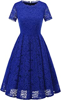 Women's Homecoming Vintage Tea Dress Floral Lace Cocktail Formal Swing Dress