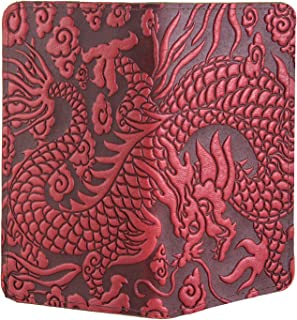 Cloud Dragon Embossed Genuine Leather Checkbook Cover, 3.5x6.5 Inches, Red, Made in the USA
