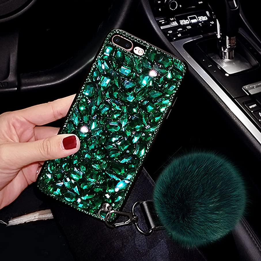 For iPhone 7 Plus Case, iPhone 8 Plus Case, GIZEE 3D Handmade Luxury Glitter Pretty Shiny Shining Diamond Rhinstone Protective Cover Cover for Apple iPhone 7 Plus iPhone 8 Plus 5.5 Inch - Green