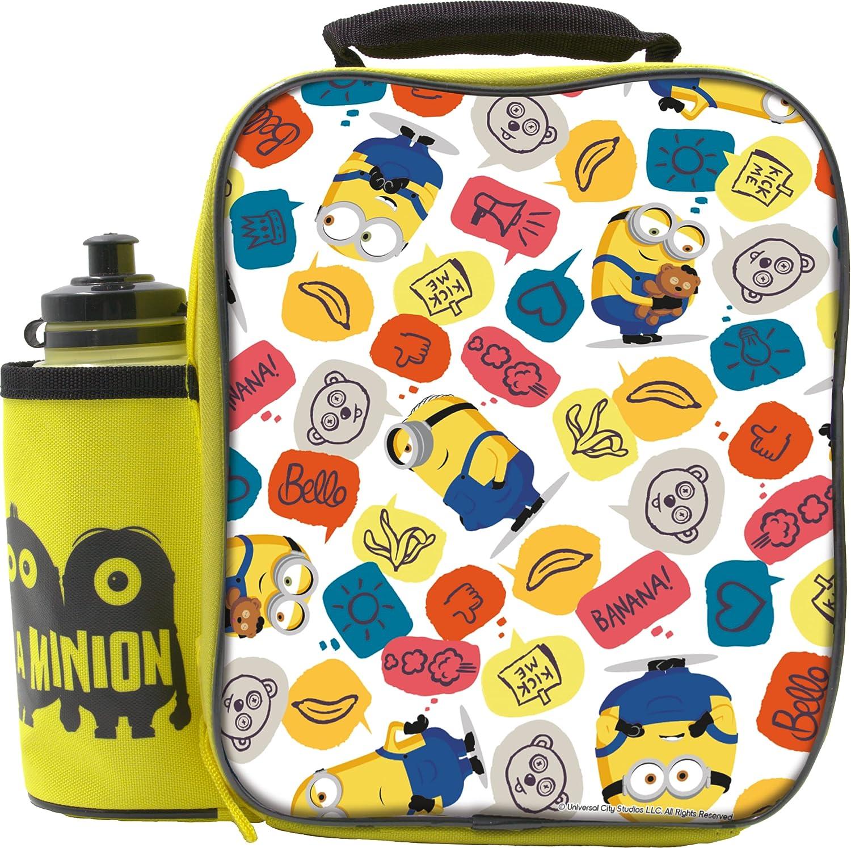 Universal Minions Juego de 2 fiambreras con botella, contenedor de alimentos para niños, bolsa térmica para el almuerzo