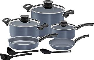 Tramontina Cookware Set 11pcs -including- Big Stock pot 26 cm 9.60 Lts, Non-Stick Coating - Bakelite handles MADE IN BRAZIL