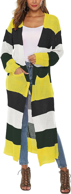 Hooever Women's Long Pastel Cardigan Drap 55% OFF Color Block Front Open San Francisco Mall