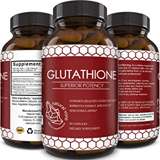 Best Glutathione Supplement - Natural Skin Whitening Anti-Aging Benefits Reduced L-Glutathione Pills for Men & Women - Pure Antioxidant Milk Thistle Extract Liver Health GSH Detox - Natural Vore