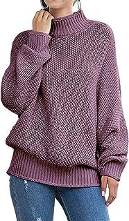 PKYGXZ Suéter de Hilo Grueso para Mujer, suéter de Manga de murciélago Rizado, Otoño e Invierno, jerséis Gruesos y cálidos...