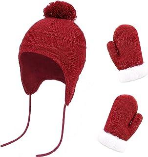 QKURT Cappellino Muffole Bimbo Set,Muffole Neonato Cappello Bambino Invernale con Pompon Adatto per Bambini di età Compres...